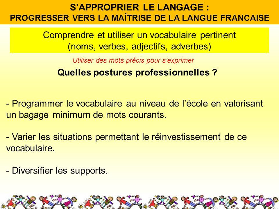 Quelles postures professionnelles ? Comprendre et utiliser un vocabulaire pertinent (noms, verbes, adjectifs, adverbes) - Programmer le vocabulaire au