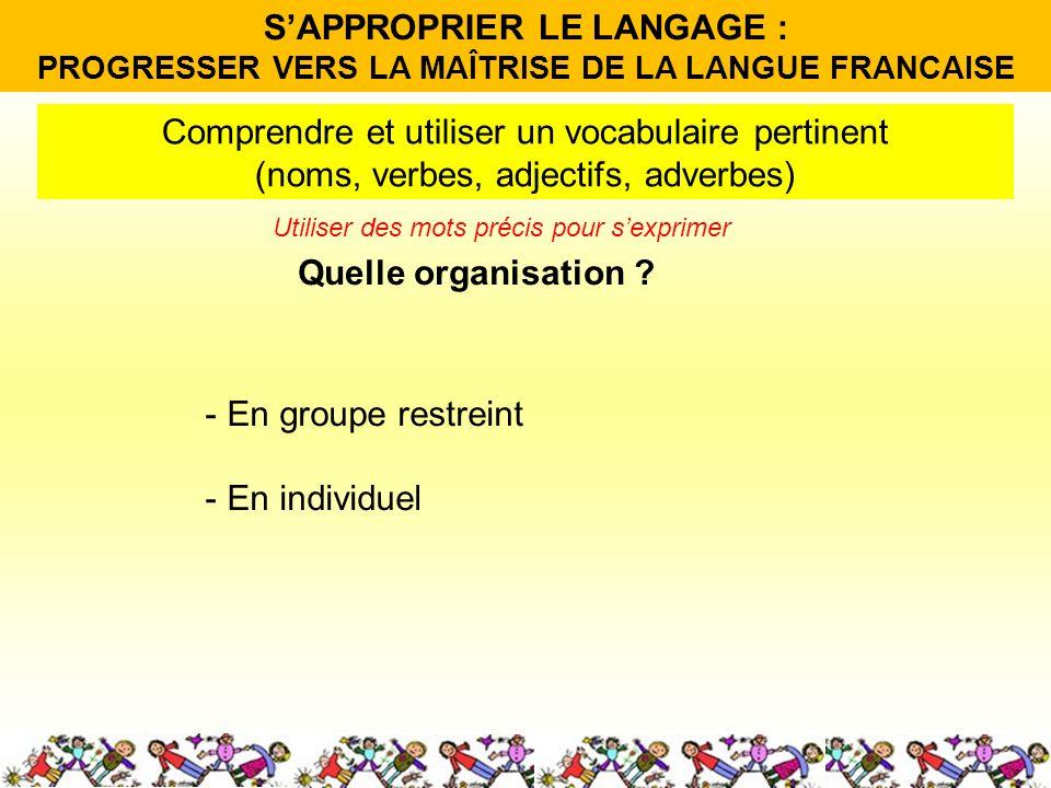 Quelle organisation ? Comprendre et utiliser un vocabulaire pertinent (noms, verbes, adjectifs, adverbes) - En groupe restreint - En individuel Utilis