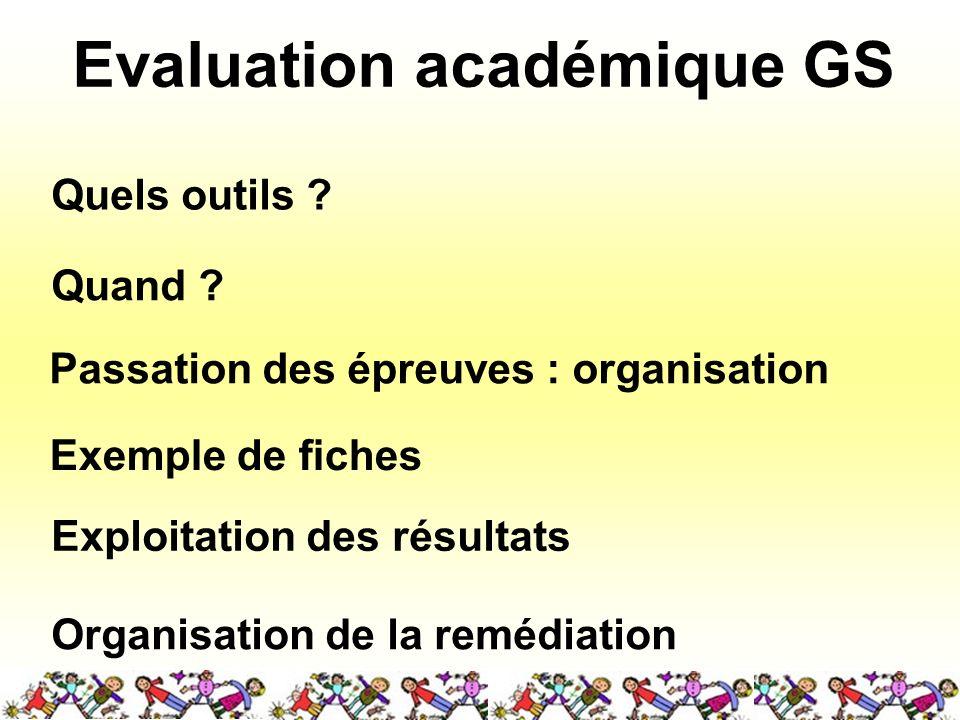 Evaluation académique GS Quels outils ? Quand ? Passation des épreuves : organisation Exploitation des résultats Organisation de la remédiation Exempl