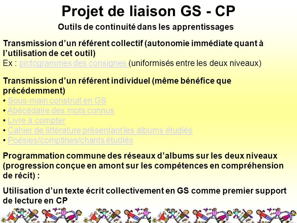 Projet de liaison GS - CP Transmission dun référent collectif (autonomie immédiate quant à lutilisation de cet outil) Ex : pictogrammes des consignes