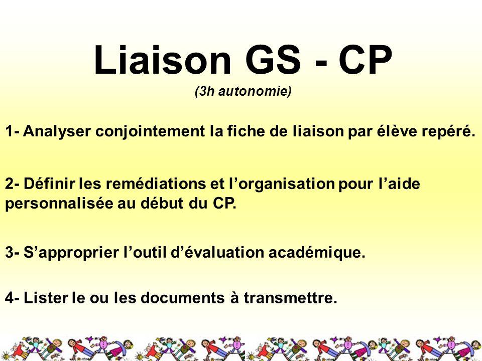 Liaison GS - CP (3h autonomie) 4- Lister le ou les documents à transmettre. 1- Analyser conjointement la fiche de liaison par élève repéré. 2- Définir