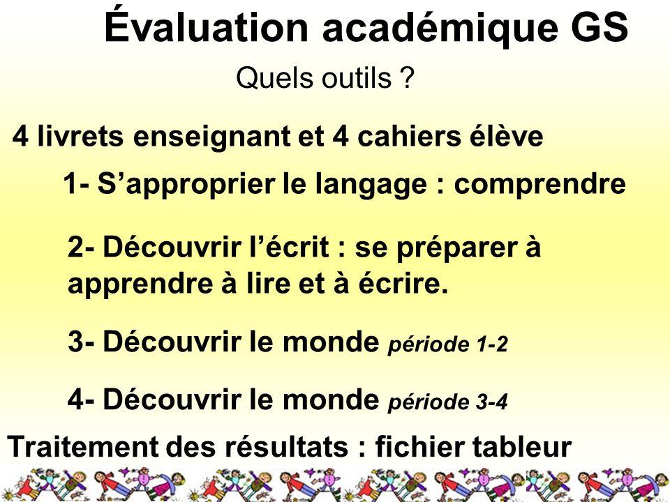 Évaluation académique GS Quels outils ? 1- Sapproprier le langage : comprendre 2- Découvrir lécrit : se préparer à apprendre à lire et à écrire. 3- Dé