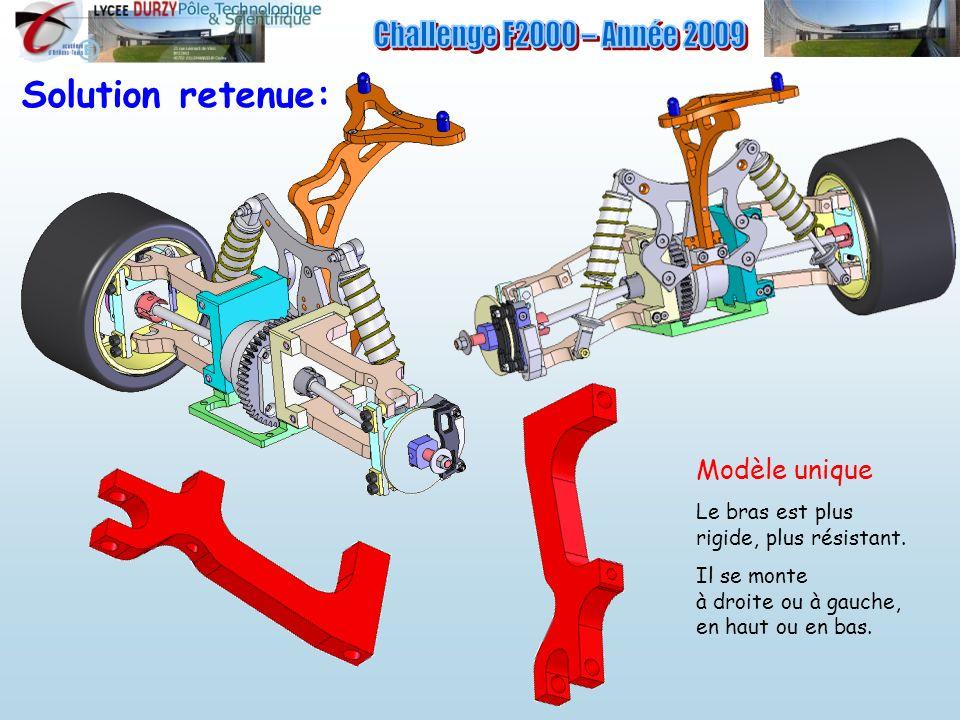 Solution retenue: Modèle unique Le bras est plus rigide, plus résistant. Il se monte à droite ou à gauche, en haut ou en bas.