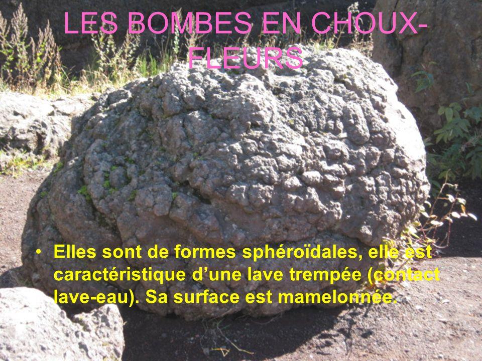 LES BOMBES EN CHOUX- FLEURS Elles sont de formes sphéroïdales, elle est caractéristique dune lave trempée (contact lave-eau). Sa surface est mamelonné