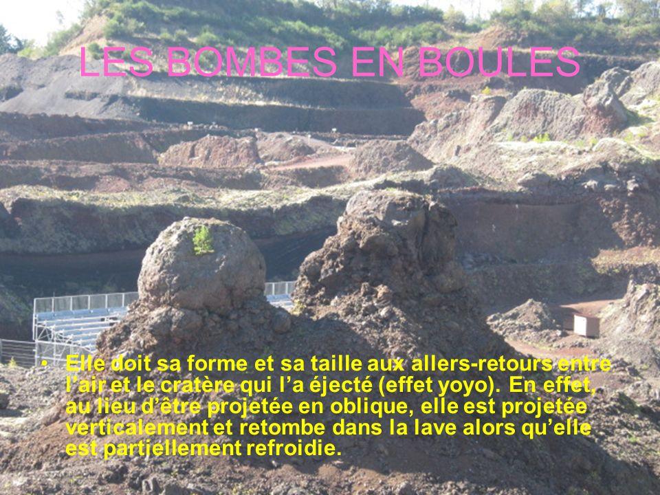 LES BOMBES EN BOULES Elle doit sa forme et sa taille aux allers-retours entre lair et le cratère qui la éjecté (effet yoyo). En effet, au lieu dêtre p