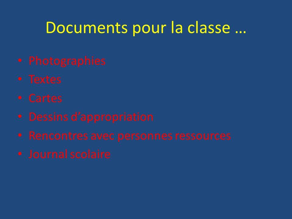 Documents pour la classe … Photographies Textes Cartes Dessins dappropriation Rencontres avec personnes ressources Journal scolaire