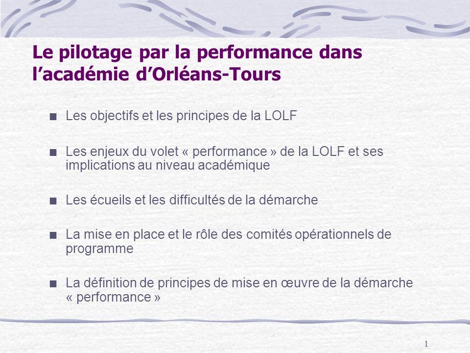 1 Le pilotage par la performance dans lacadémie dOrléans-Tours Les objectifs et les principes de la LOLF Les enjeux du volet « performance » de la LOL