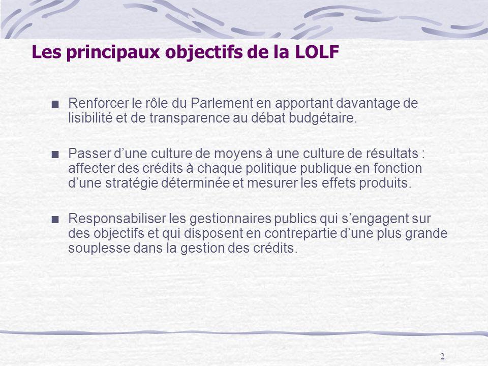 2 Les principaux objectifs de la LOLF Renforcer le rôle du Parlement en apportant davantage de lisibilité et de transparence au débat budgétaire.