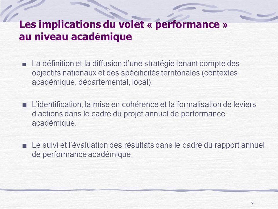 5 Les implications du volet « performance » au niveau acad é mique La définition et la diffusion dune stratégie tenant compte des objectifs nationaux et des spécificités territoriales (contextes académique, départemental, local).