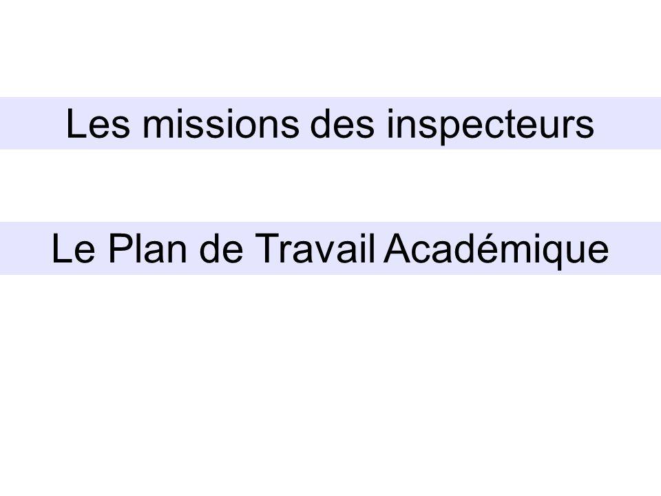 Le Plan de Travail Académique Les missions des inspecteurs