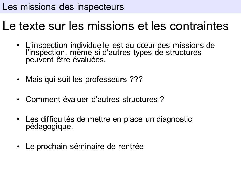Le texte sur les missions et les contraintes Linspection individuelle est au cœur des missions de linspection, même si dautres types de structures peu
