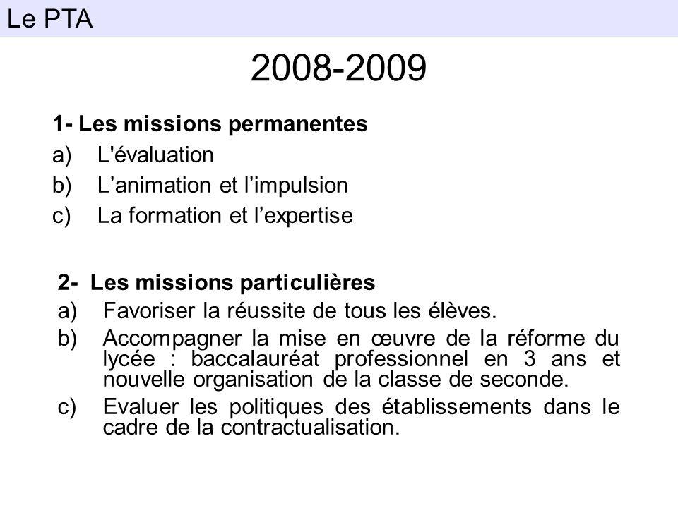 2008-2009 1- Les missions permanentes a)L'évaluation b)Lanimation et limpulsion c)La formation et lexpertise Le PTA 2- Les missions particulières a)Fa