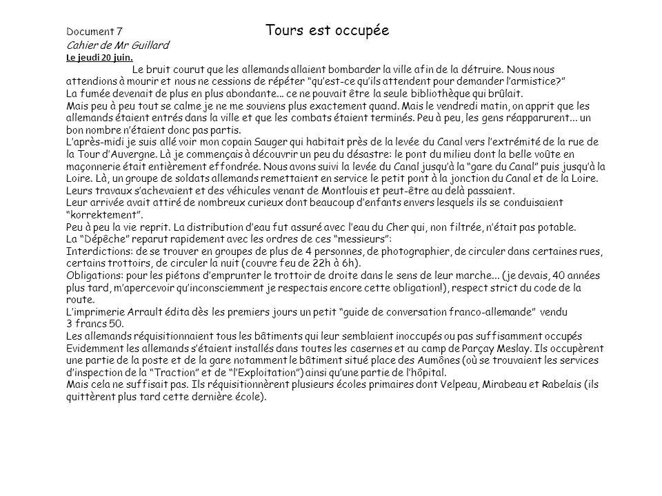 Document 7 Tours est occupée Cahier de Mr Guillard Le jeudi 20 juin.