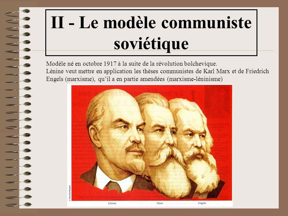 II - Le modèle communiste soviétique Modèle né en octobre 1917 à la suite de la révolution bolchevique.