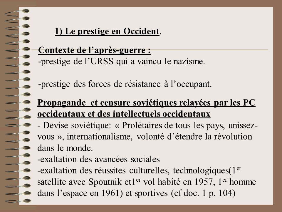 1) Le prestige en Occident.Contexte de laprès-guerre : -prestige de lURSS qui a vaincu le nazisme.