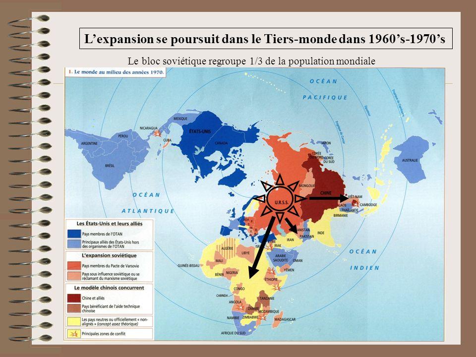 Lexpansion se poursuit dans le Tiers-monde dans 1960s-1970s Le bloc soviétique regroupe 1/3 de la population mondiale