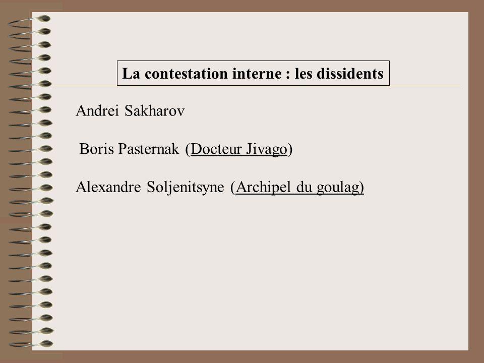La contestation interne : les dissidents Alexandre Soljenitsyne (Archipel du goulag) Boris Pasternak (Docteur Jivago) Andrei Sakharov