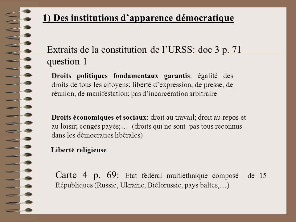 1) Des institutions dapparence démocratique Extraits de la constitution de lURSS: doc 3 p.