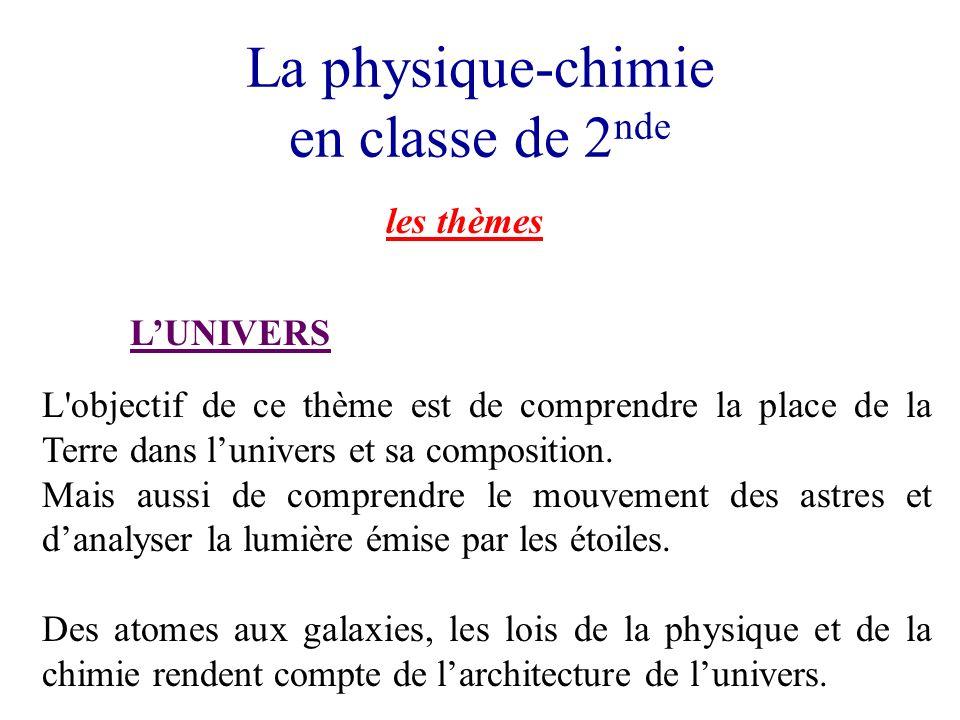 La physique-chimie en classe de 2 nde les thèmes LUNIVERS L objectif de ce thème est de comprendre la place de la Terre dans lunivers et sa composition.