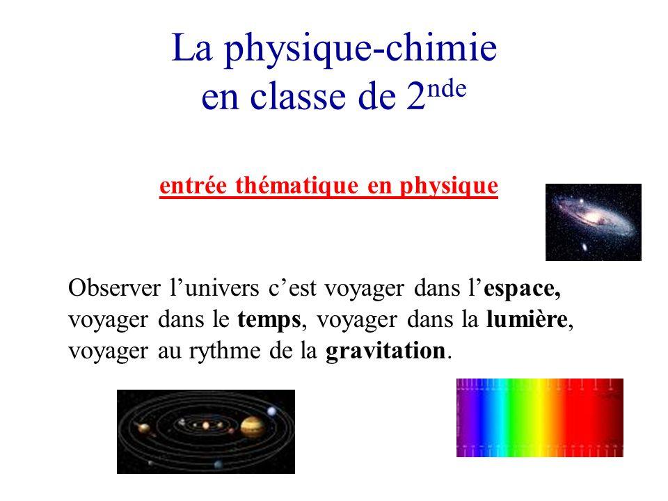 La physique-chimie en classe de 2 nde entrée thématique en physique Observer lunivers cest voyager dans lespace, voyager dans le temps, voyager dans la lumière, voyager au rythme de la gravitation.