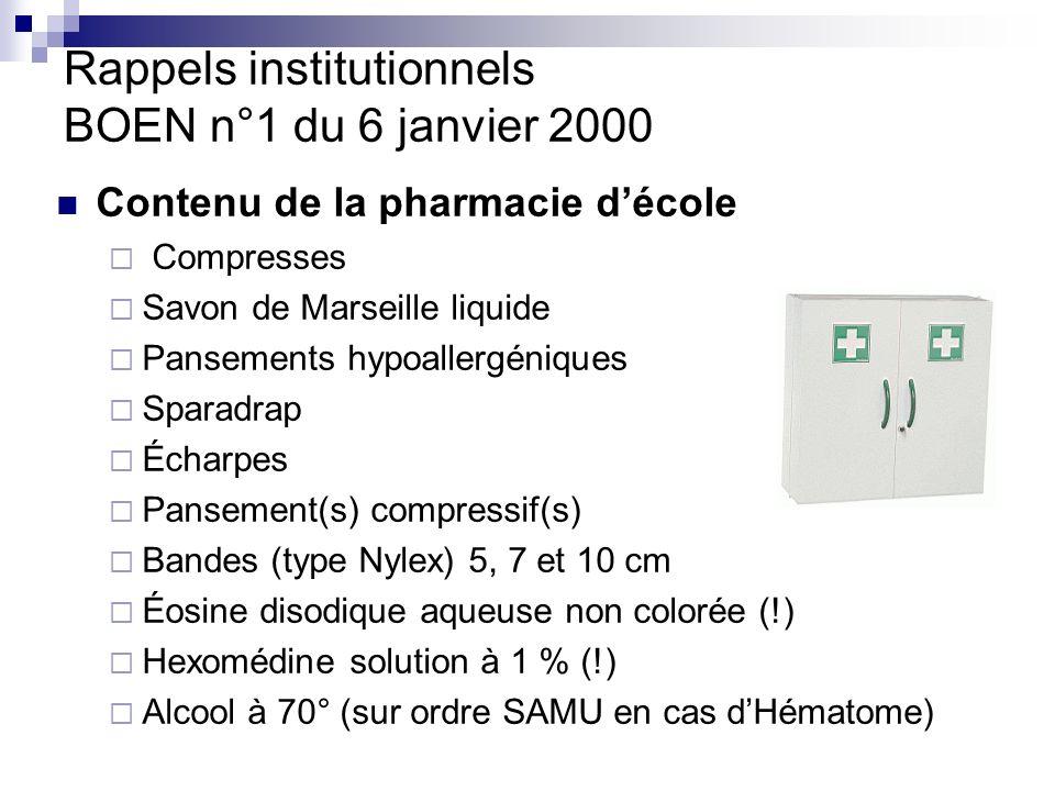 Rappels institutionnels BOEN n°1 du 6 janvier 2000 Contenu de la pharmacie décole Médicaments dans le cadre des PAI Armoire fermée à clé Liste accessible des protocoles