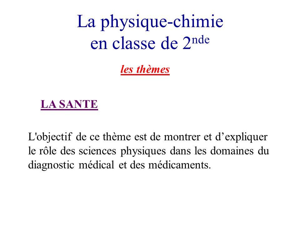 La physique-chimie en classe de 2 nde les thèmes LA SANTE L objectif de ce thème est de montrer et dexpliquer le rôle des sciences physiques dans les domaines du diagnostic médical et des médicaments.