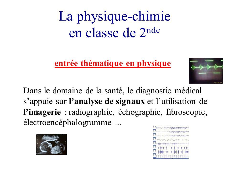 La physique-chimie en classe de 2 nde entrée thématique en physique Dans le domaine de la santé, le diagnostic médical sappuie sur lanalyse de signaux