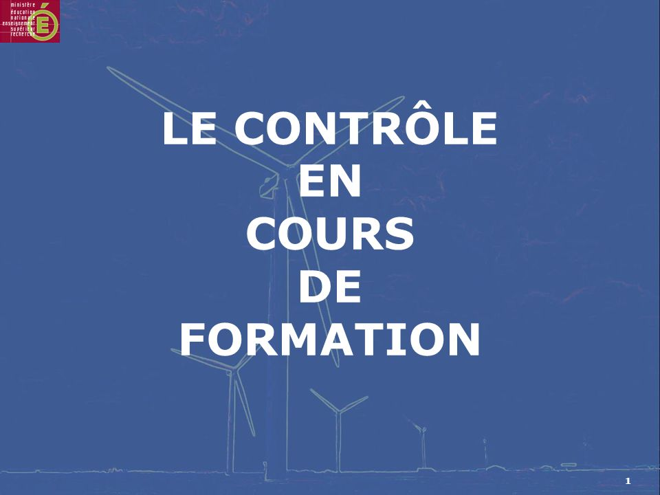 1 LE CONTRÔLE EN COURS DE FORMATION