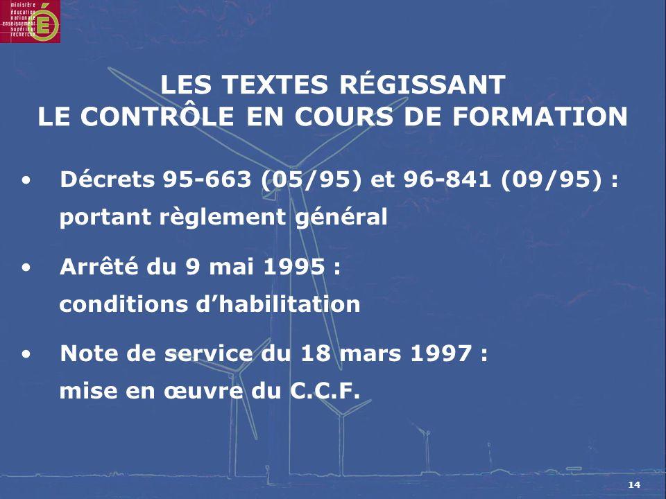 14 LES TEXTES R É GISSANT LE CONTRÔLE EN COURS DE FORMATION Décrets 95-663 (05/95) et 96-841 (09/95) : portant règlement général Arrêté du 9 mai 1995 : conditions dhabilitation Note de service du 18 mars 1997 : mise en œuvre du C.C.F.
