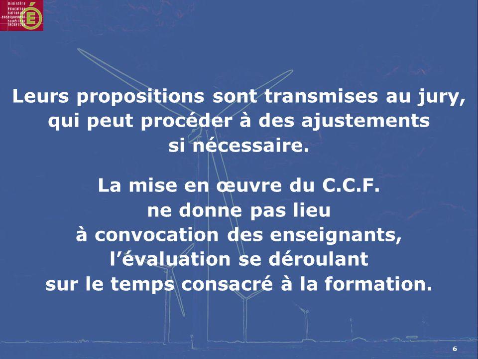 7 Une situation dévaluation par C.C.F.doit correspondre à la définition de lépreuve ou de lunité.