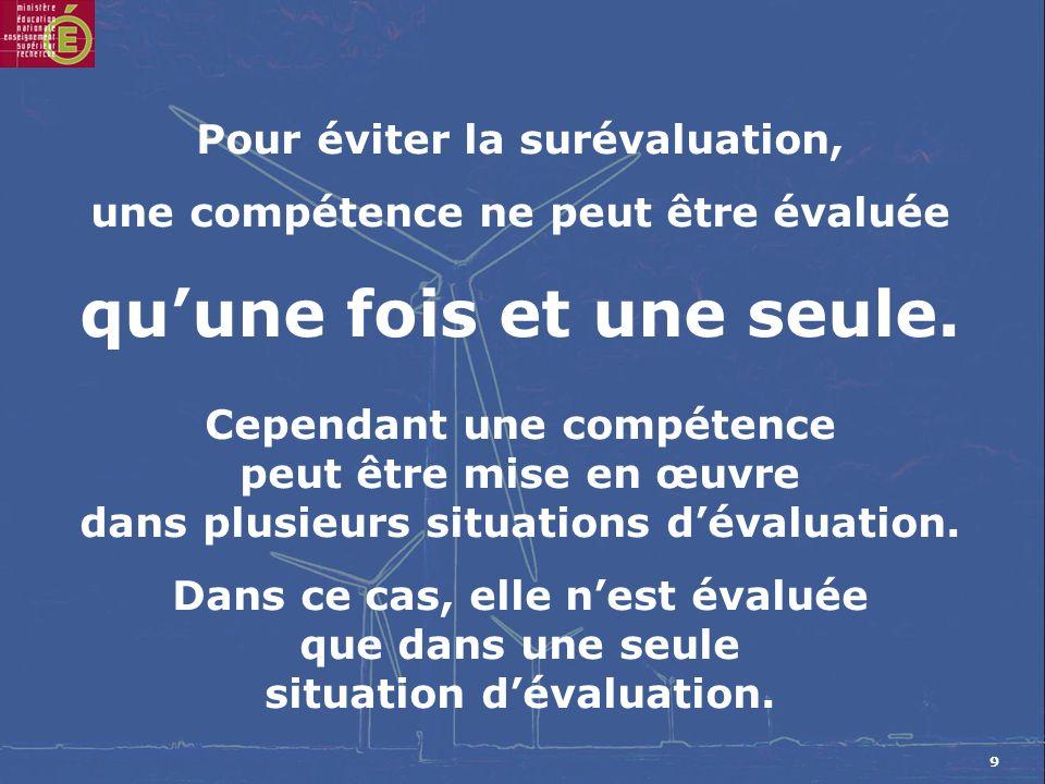 9 Pour éviter la surévaluation, une compétence ne peut être évaluée quune fois et une seule.