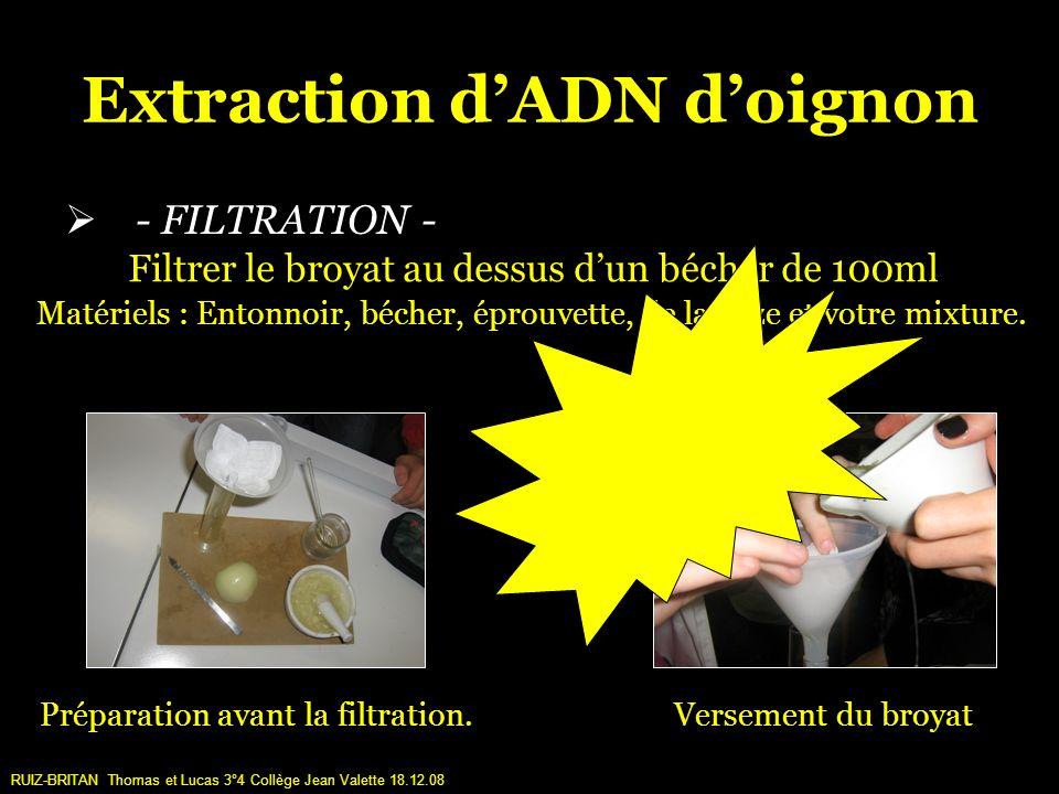 Extraction dADN doignon - FILTRATION - Préparation avant la filtration.