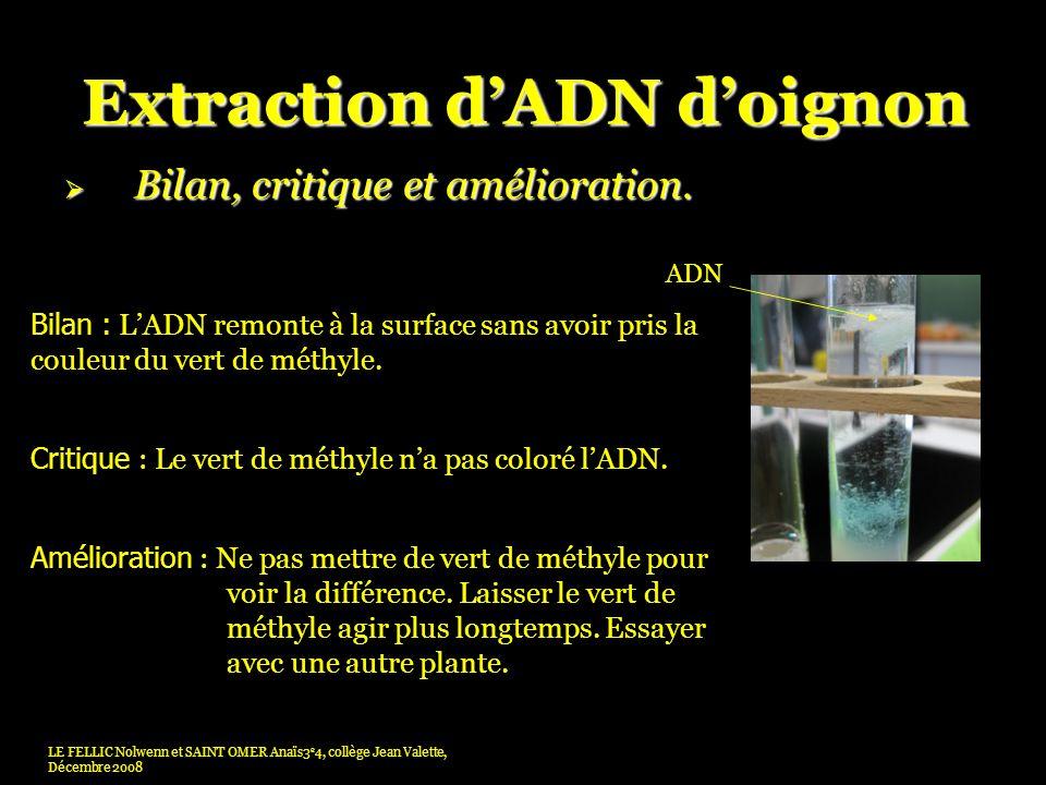 Extraction dADN doignon Bilan, critique et amélioration.