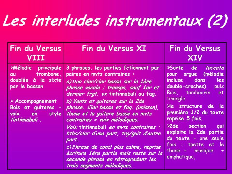 Les interludes instrumentaux (2) Fin du Versus VIII Fin du Versus XIFin du Versus XIV Mélodie principale au trombone, doublée à la sixte par le basson Accompagnement Bois et guitares – voix en style tintinnabuli.