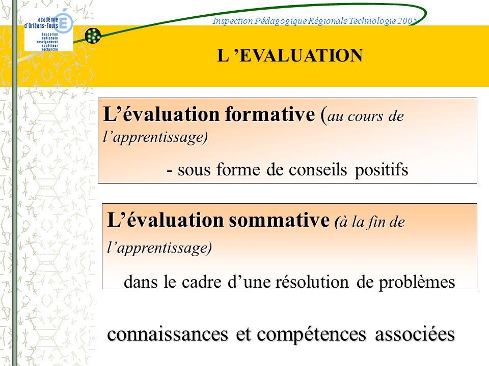 Lévaluation formative ( au cours de lapprentissage) - sous forme de conseils positifs Lévaluation sommative (à la fin de lapprentissage) dans le cadre