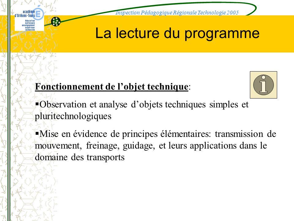 La lecture du programme Fonctionnement de lobjet technique: Observation et analyse dobjets techniques simples et pluritechnologiques Mise en évidence