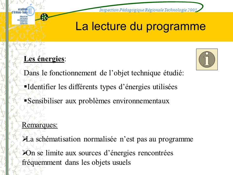 La lecture du programme Les énergies: Dans le fonctionnement de lobjet technique étudié: Identifier les différents types dénergies utilisées Sensibili