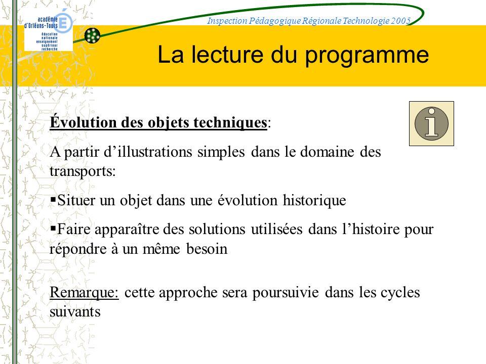 La lecture du programme Évolution des objets techniques: A partir dillustrations simples dans le domaine des transports: Situer un objet dans une évol