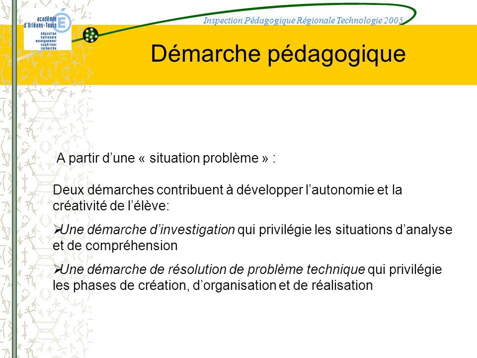 Démarche pédagogique A partir dune « situation problème » : Deux démarches contribuent à développer lautonomie et la créativité de lélève: Une démarch