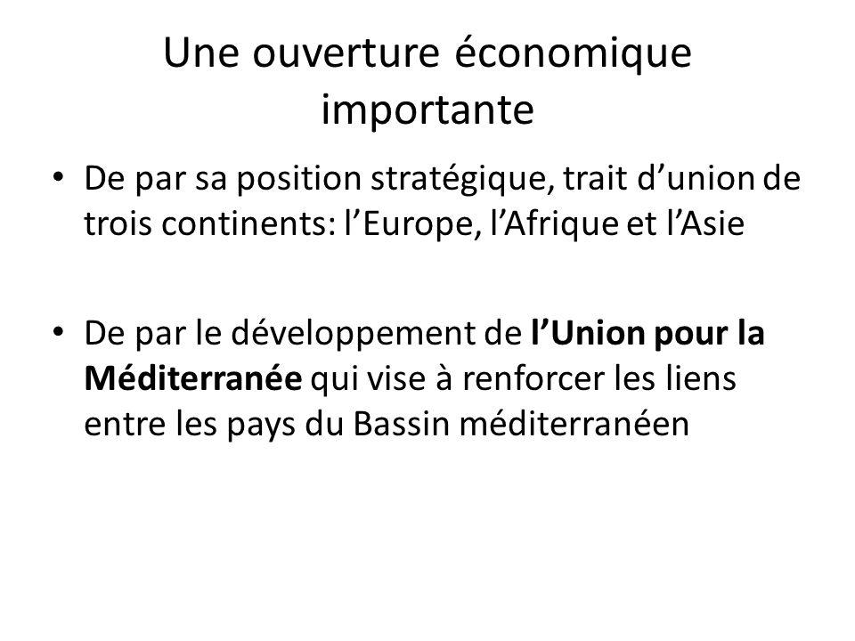 Une ouverture économique importante De par sa position stratégique, trait dunion de trois continents: lEurope, lAfrique et lAsie De par le développement de lUnion pour la Méditerranée qui vise à renforcer les liens entre les pays du Bassin méditerranéen