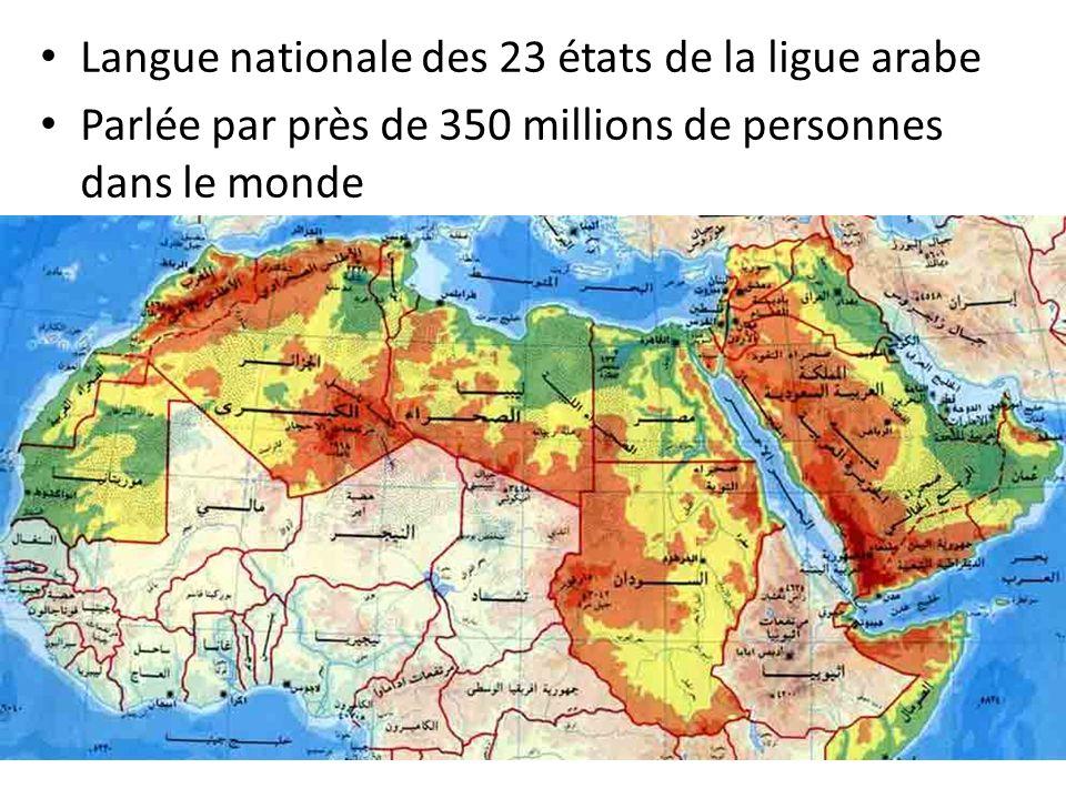 Langue nationale des 23 états de la ligue arabe Parlée par près de 350 millions de personnes dans le monde