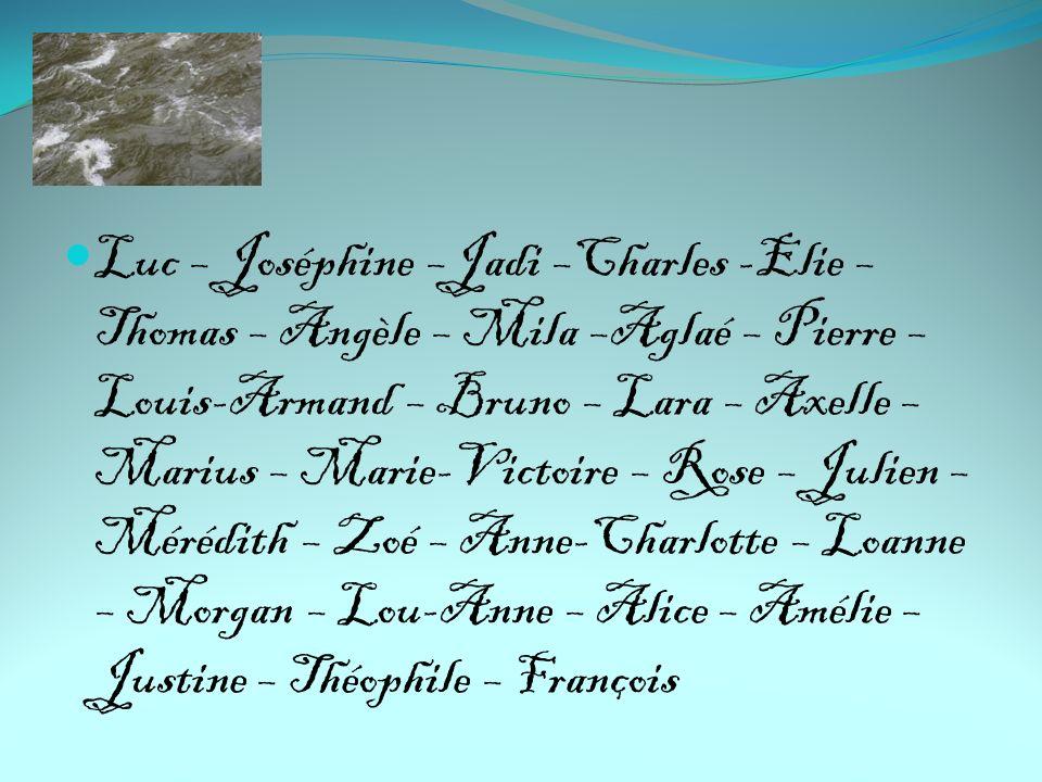 Luc – Joséphine –Jadi –Charles -Elie – Thomas – Angèle – Mila –Aglaé – Pierre – Louis-Armand – Bruno – Lara – Axelle – Marius – Marie-Victoire – Rose – Julien – Mérédith – Zoé – Anne-Charlotte – Loanne – Morgan – Lou-Anne – Alice – Amélie – Justine – Théophile – François