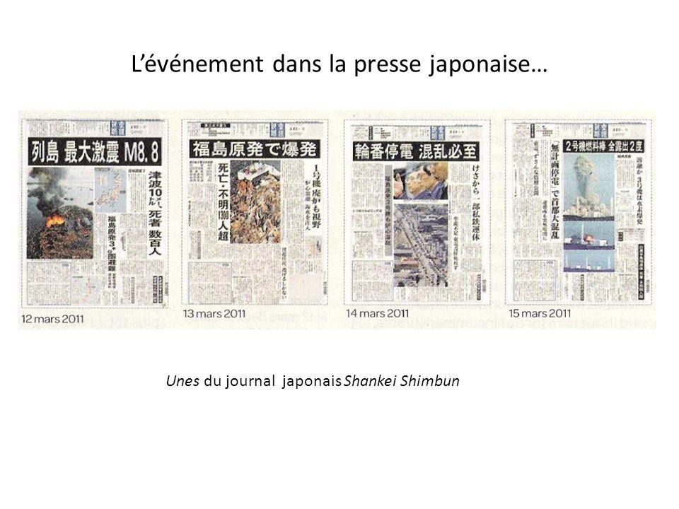 Lévénement dans la presse japonaise… Unes du journal japonais Shankei Shimbun