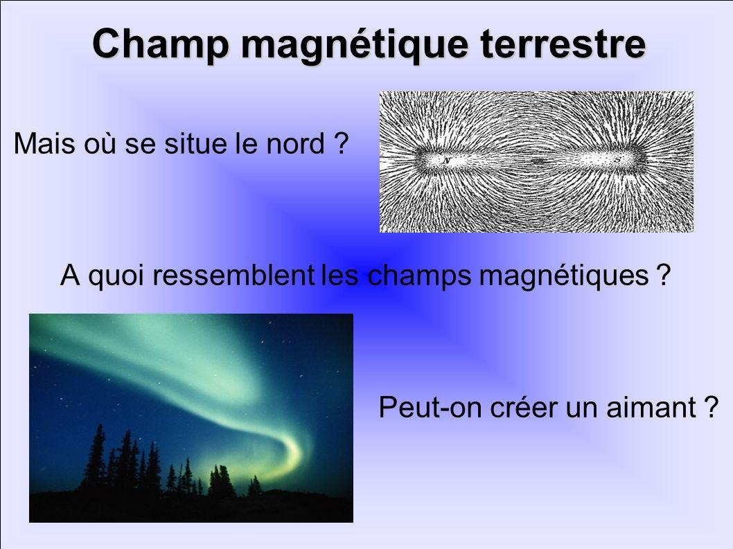 Champ magnétique terrestre Mais où se situe le nord ? A quoi ressemblent les champs magnétiques ? Peut-on créer un aimant ?