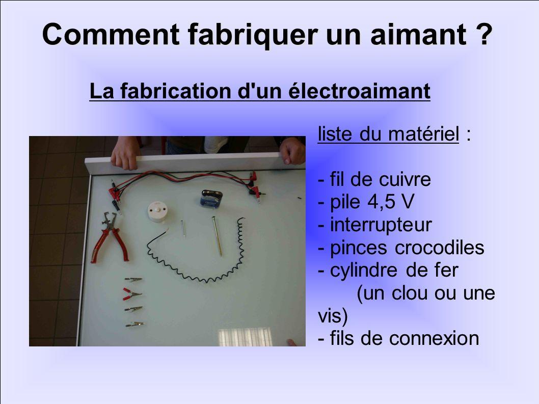 Comment fabriquer un aimant ? liste du matériel : - fil de cuivre - pile 4,5 V - interrupteur - pinces crocodiles - cylindre de fer (un clou ou une vi