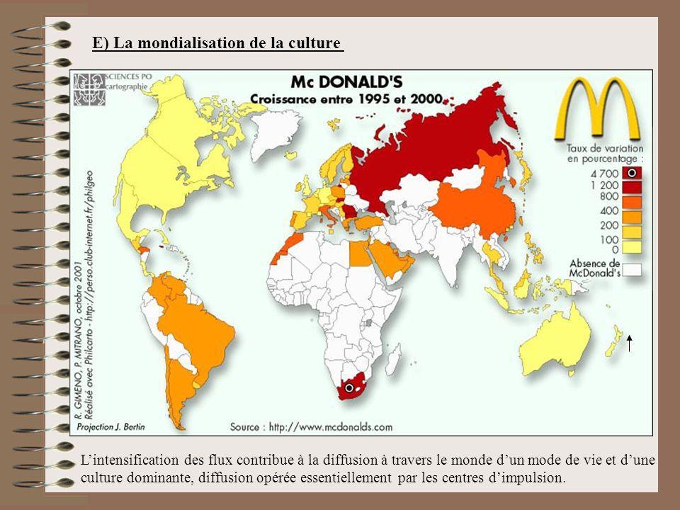 E) La mondialisation de la culture Lintensification des flux contribue à la diffusion à travers le monde dun mode de vie et dune culture dominante, di