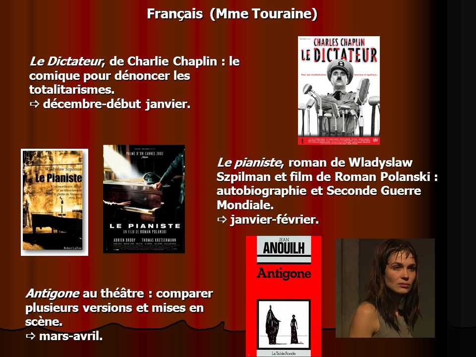 Français (Mme Touraine) Le Dictateur, de Charlie Chaplin : le comique pour dénoncer les totalitarismes. décembre-début janvier. décembre-début janvier