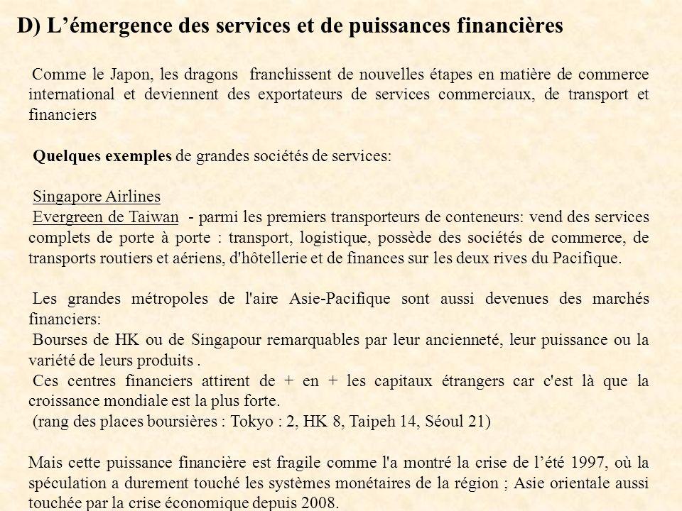 D) Lémergence des services et de puissances financières Comme le Japon, les dragons franchissent de nouvelles étapes en matière de commerce internatio