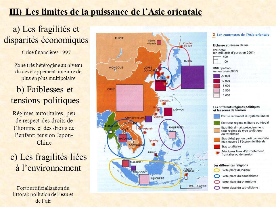 III) Les limites de la puissance de lAsie orientale a) Les fragilités et disparités économiques b) Faiblesses et tensions politiques c) Les fragilités