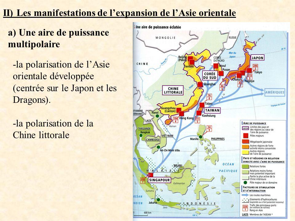 II) Les manifestations de lexpansion de lAsie orientale a) Une aire de puissance multipolaire -la polarisation de lAsie orientale développée (centrée